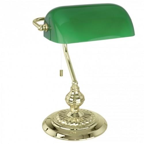 """Настільна лампа/1 60W E27 латунь/зелений """"Банкер"""""""
