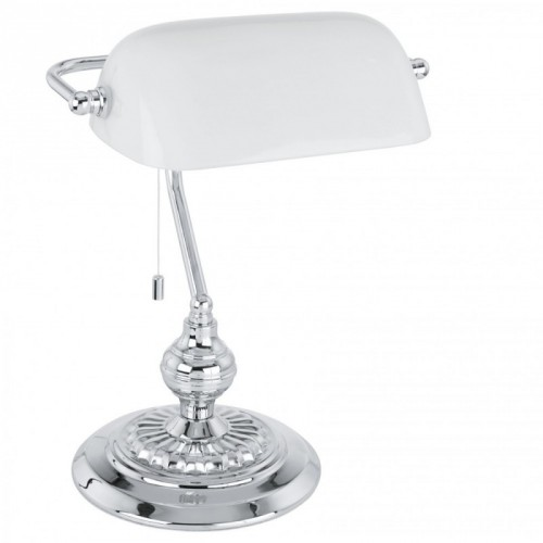 """Настільна лампа/1 60W E27 хром/білий  """"Банкер"""""""
